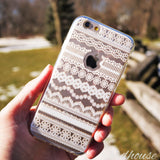 MADE IN JAPAN Soft Clear iPhone 6/6s Case White Lace Pattern - Dhouse USA - 4