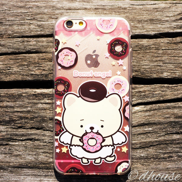 MADE IN JAPAN Soft Clear iPhone 6/6s Case - Donut Angel Bear - Dhouse USA - 3
