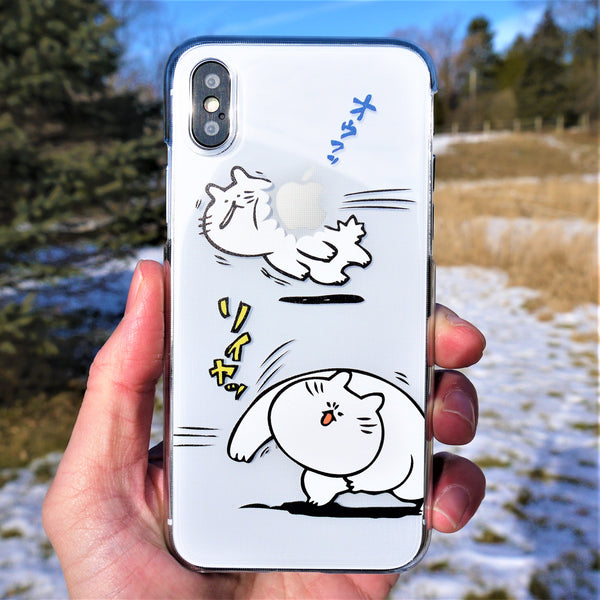 MADE IN JAPAN Hard Shell Clear Case for iPhone X - Japanese Anime Cats