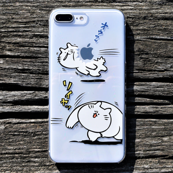 MADE IN JAPAN Hard Shell Clear Case for iPhone 8/8 Plus - Japanese Anime Cats