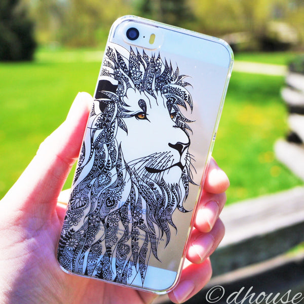 MADE IN JAPAN Hard Shell Clear Case - Lion Head for iPhone SE/5/5s - Dhouse USA - 1