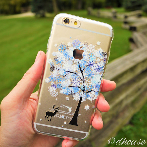 MADE IN JAPAN Soft Clear iPhone 6/6s Case - Reindeer Snow Tree - Dhouse USA - 4