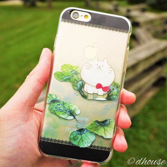 MADE IN JAPAN Soft Clear iPhone 6/6s Case - Anime Cat on Lotus leaf - Dhouse USA - 1