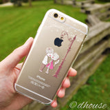 Cute Soft Clear iPhone Case - Love Couple Kiss Made in Japan by DHOUSE