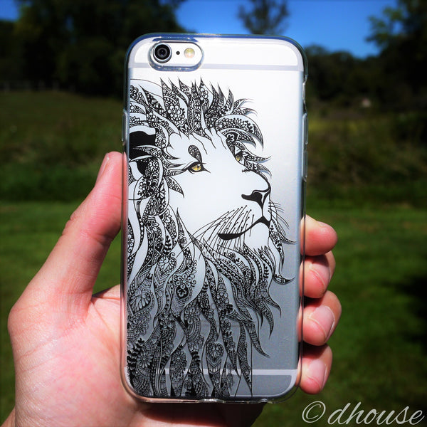 MADE IN JAPAN Soft Clear iPhone Case - Lion Head Art - Dhouse USA - 3