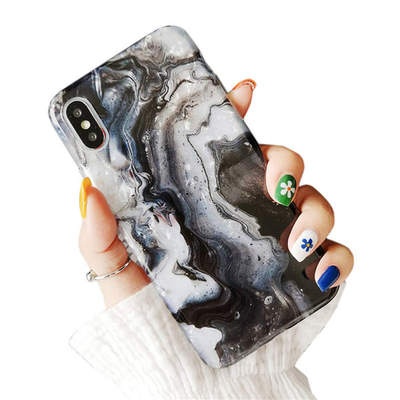 Glitter Bling Cute iPhone Case - Black Marble
