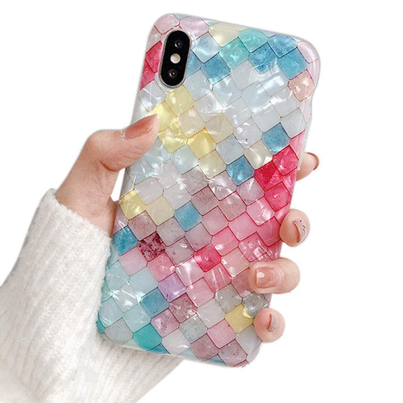 Glitter Bling Cute iPhone Case - Colorful Square