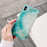 Glitter Bling Cute iPhone Case - Green Marble