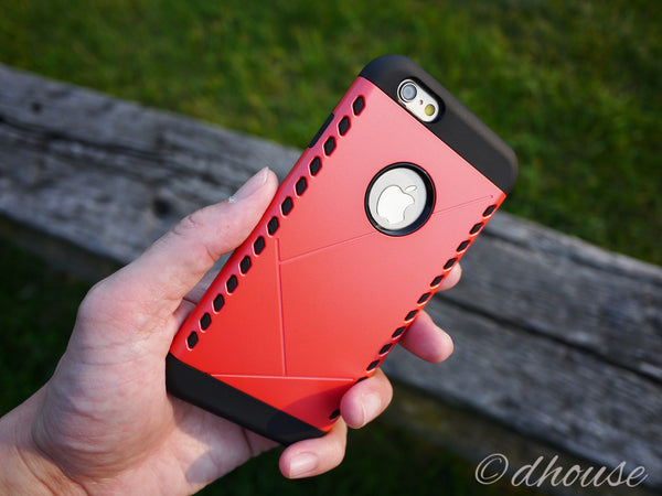 Premium Hybrid Shockproof Rugged Rubber Case - Red - Dhouse USA - 2