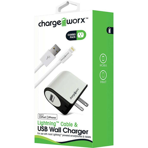 CHARGEWORX Lightning Sync Cable & USB Wall Charger, White
