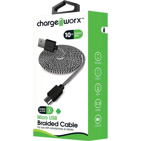 CHARGEWORX 10ft Micro-USB Braided Sync & Charge Cable
