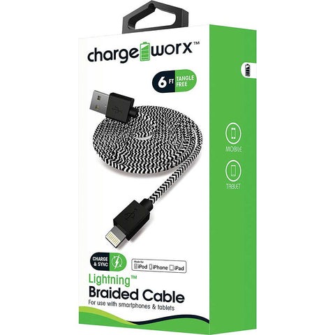 CHARGEWORX 6ft Lightning Braided Sync & Charge Cable, Black