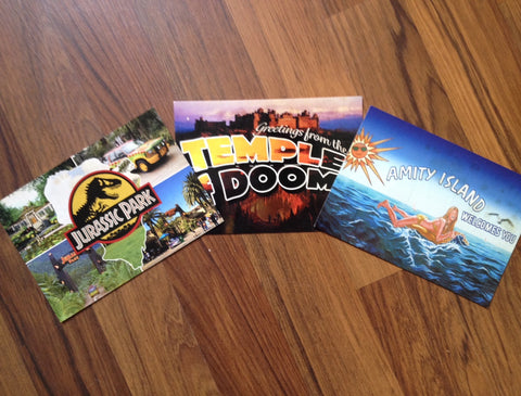 "Lot de cartes postales ""Amity Island"", ""Temple of Doom"", ""Jurassic Park"""