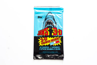 Paquets cartes collection JAWS 3-D 1983 - 6 cartes + 1 paire de lunettes 3D + 1 chewing-gum