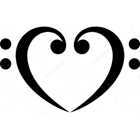 Bass Clef Heart - Highjacked Tattoos - Lasts Two-Weeks - 100% Organic - Gluten Free - Free shipping within the U.S.