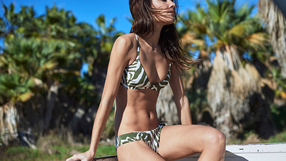 Luhur Triangle Printed Bikini Top and Tanah Bikini Bottom