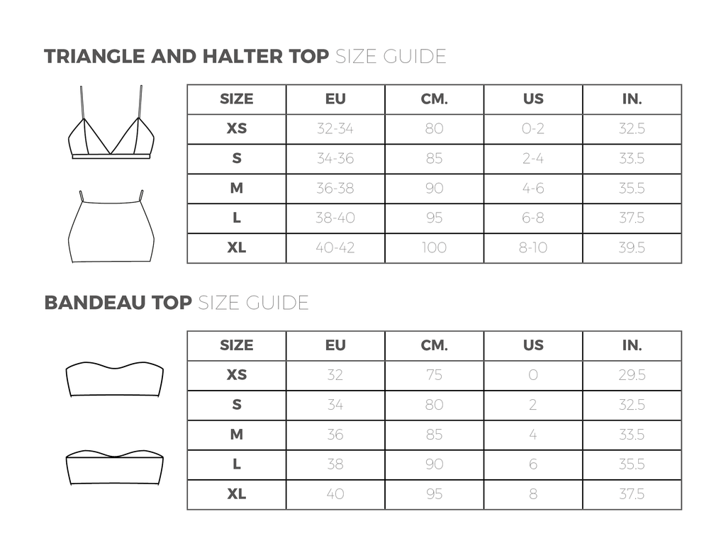 Sizing bikini tops and bralettes (Serendipity)