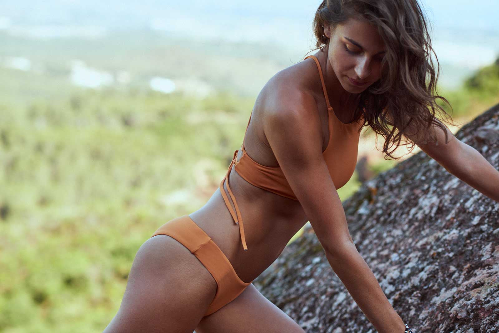 Bolama Halter Bikini Top and Kaloum Bottom in Amber, By Serendipity
