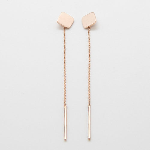 CUADRATURA Earrings: 14kt rose gold and sterling silver