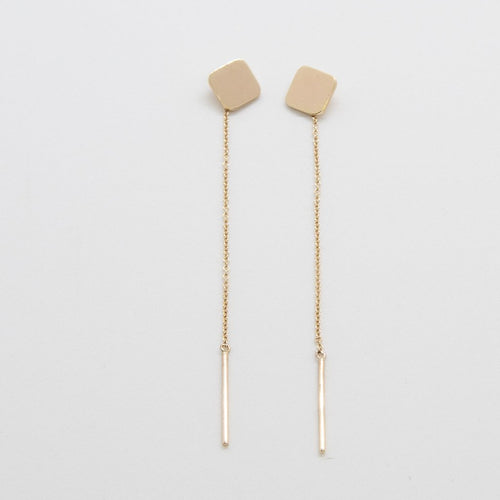 CUADRATURA Earrings: 14kt yellow gold and sterling silver