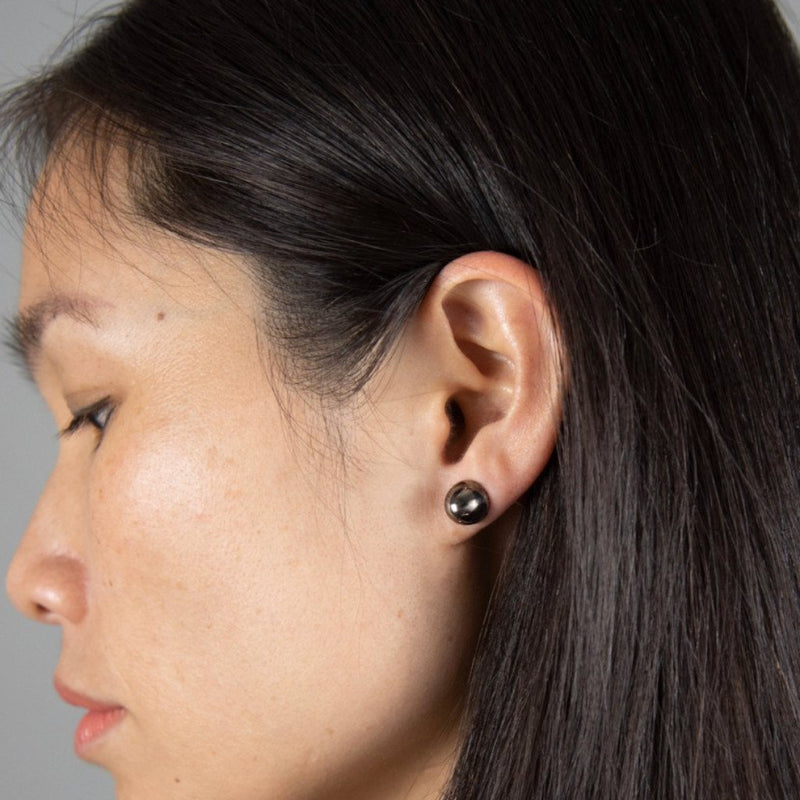 COCOON CONIC Earrings: black rhodium silver