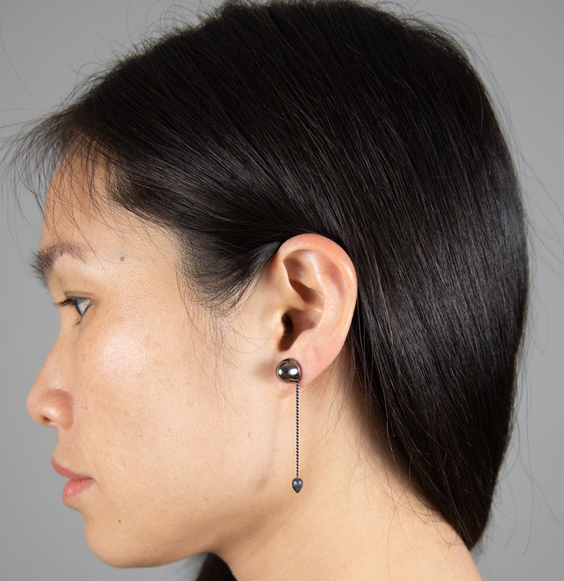 CONIC ADD-ON Earrings: black rhodium silver