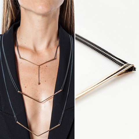 CANOPIAL MAYOR necklace: black rhodium silver, yellow gold