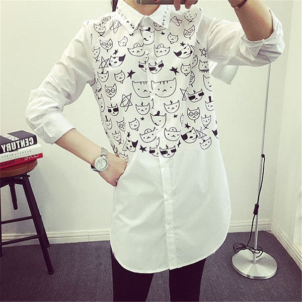 Cartoon Cat  Blouse