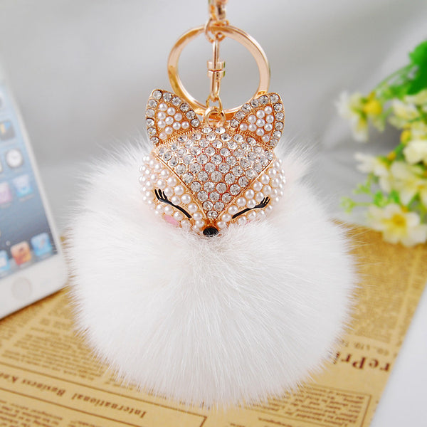 Cute Rhinestone Fox - Real Rabbit Fur Ball