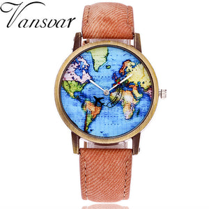 Global Travel By- Plane Map Women Dress Watch