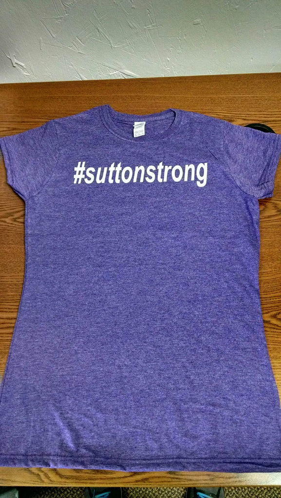 Ladies Cut #suttonstrong Short Sleeve Tee in Heather Purple
