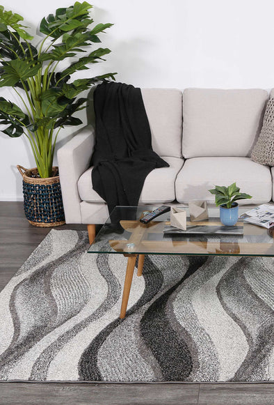 Vision Waves Grey Rug
