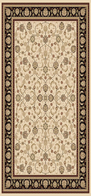 Isfahan Cream Black Bordered Traditional Rug
