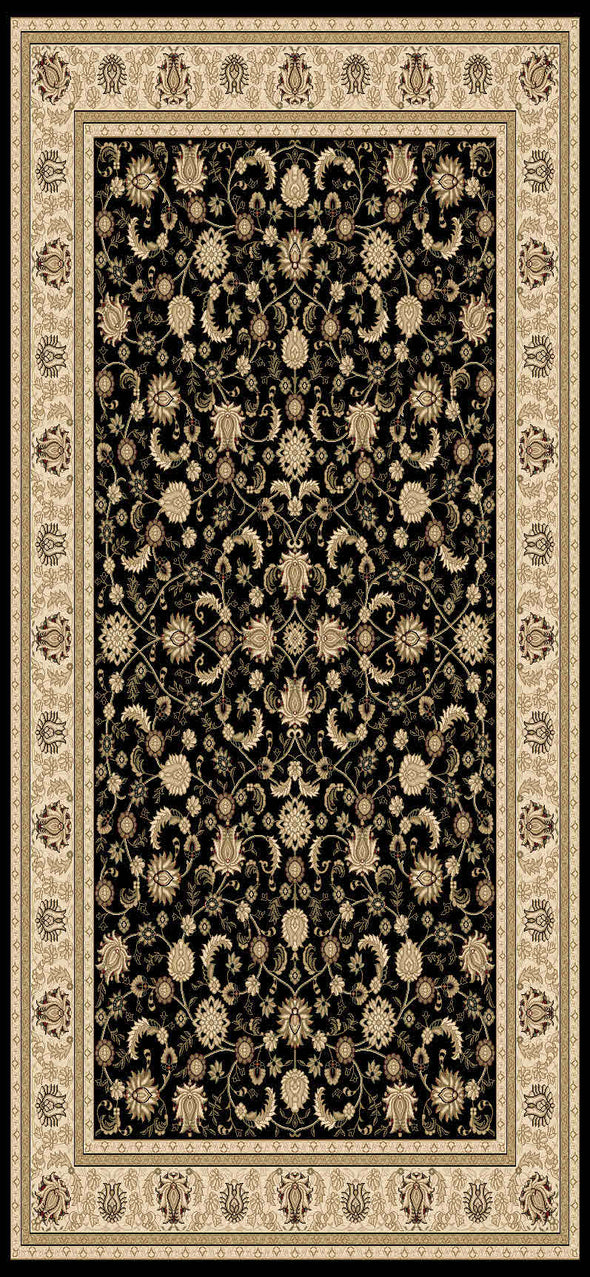 Isfahan Black Cream Bordered Traditional Rug