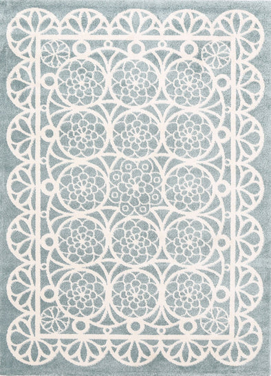 Kids Doily Aqua White