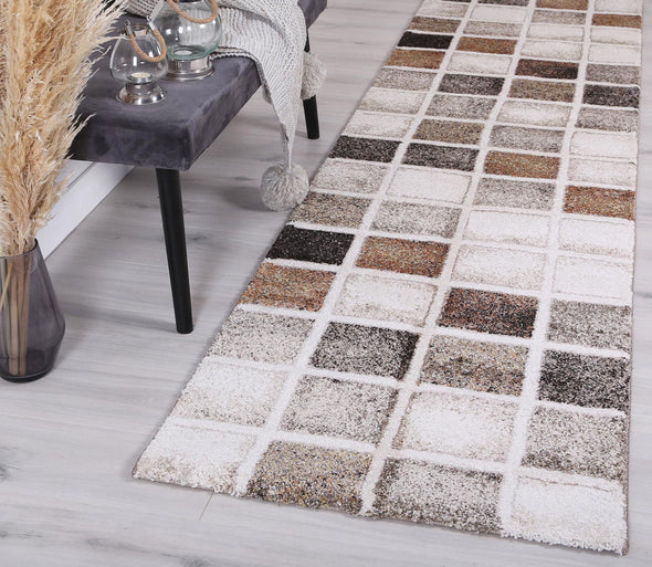 Vision Grid Rust Runner Rug