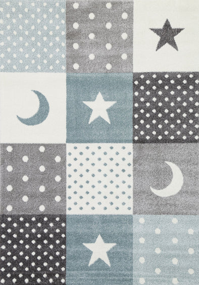 Nova Blue Grey Stars & Moon Rug