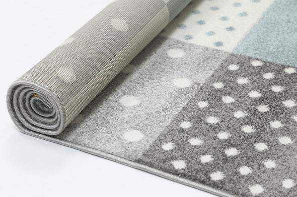 Nova Blue Grey Stars & Hearts Rug