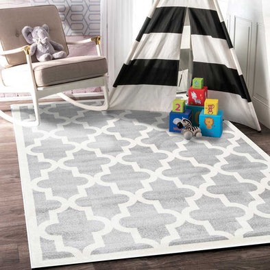 Lattice Pattern Light Grey White