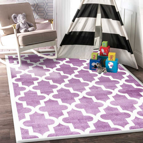 Lattice Pattern Violet Pink White