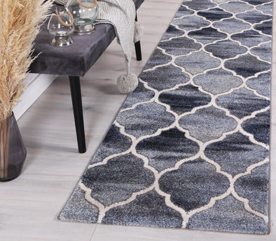 Vision Lattice Blue Grey Runner Rug