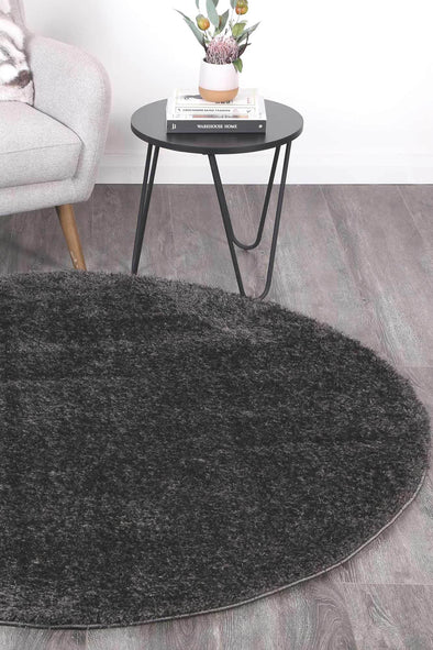 Puffy Soft Shag Round Rug Anthracite