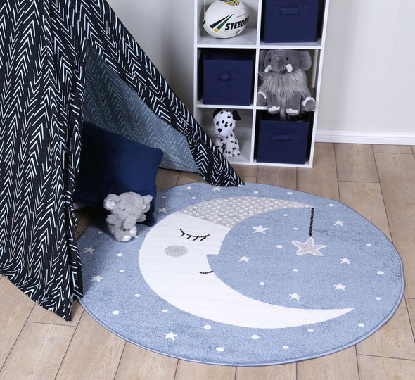 Nova Kids Sleeping Moon Round Rug Blue