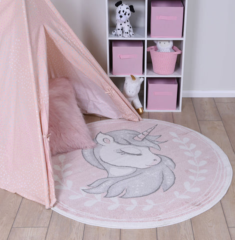 Nova Kids Sleeping Unicorn  Round Rug Pink