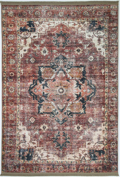 Distressed Vintage Tanasa Terracotta Rug