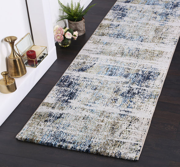 Roman Mosaic Distressed Modern Navy Runner