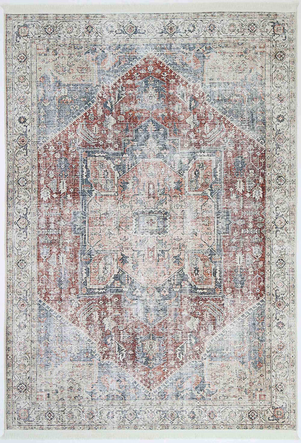 Distressed Vintage Hamadan Ruby  Rug