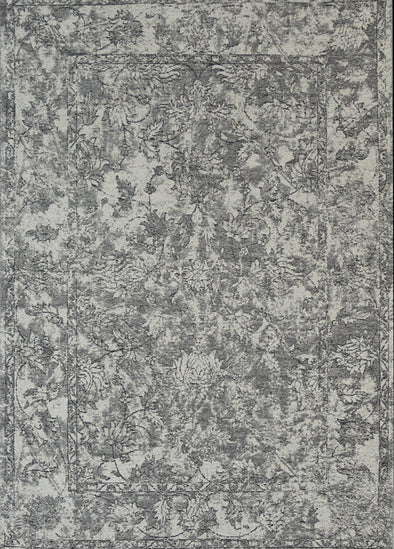 Bohemian boarder grey distressed rug