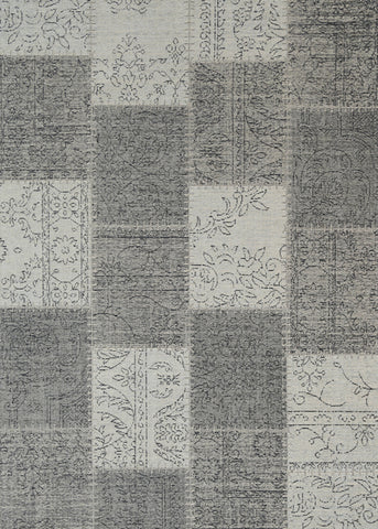 Bohemian patchwork grey distressed rug