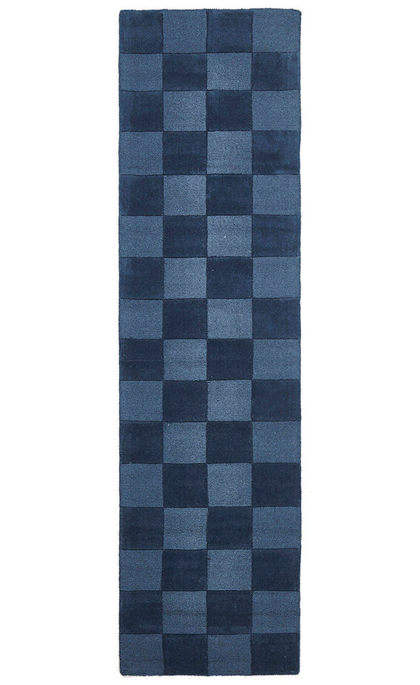 Wool Hand Loomed Rug - Box Petrol